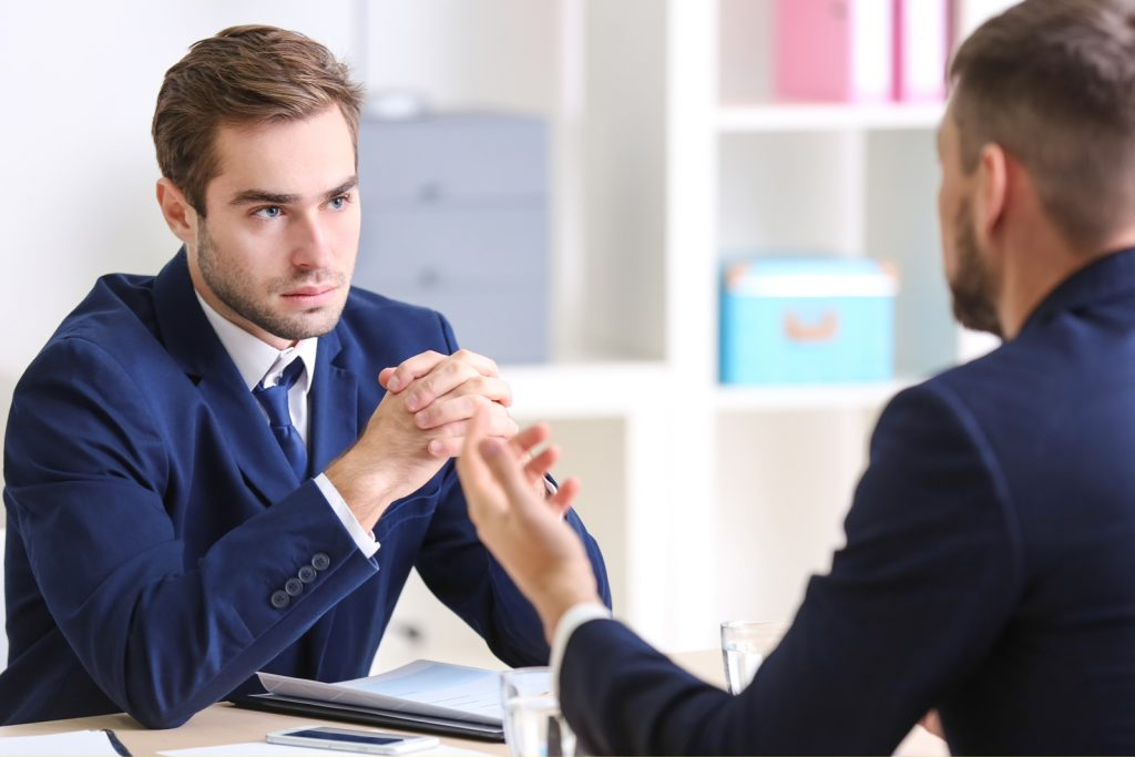 man in hr interview